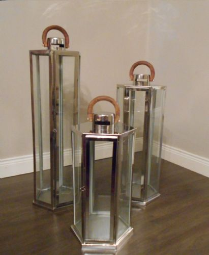 Hexagon Polished Stainless Steel Lantern (Set Of 3)